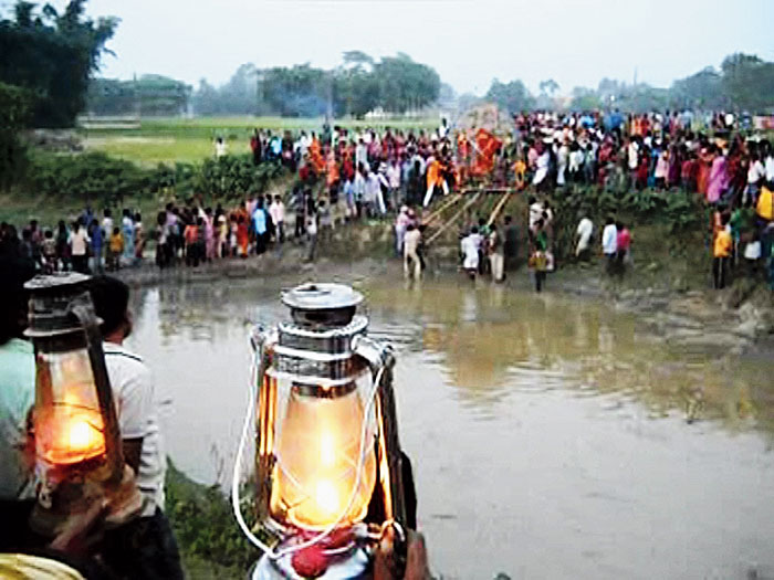 Lanterns held during the immersion of the Durga idol at Chanchol block in Malda