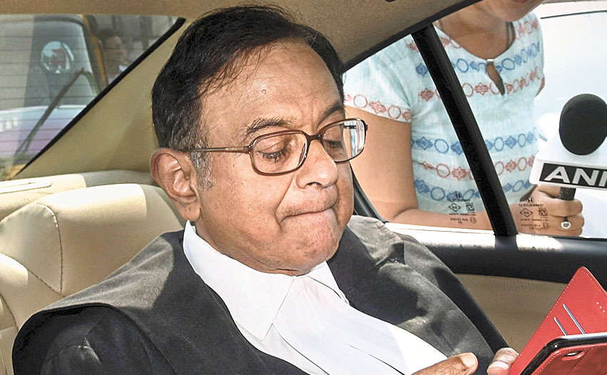 P Chidambaram leaves the court on Thursday.