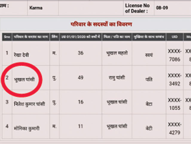 A screenshot of the government website showing the ration card with deceased Bhukhal Ghasi's (circled in red) name on it.