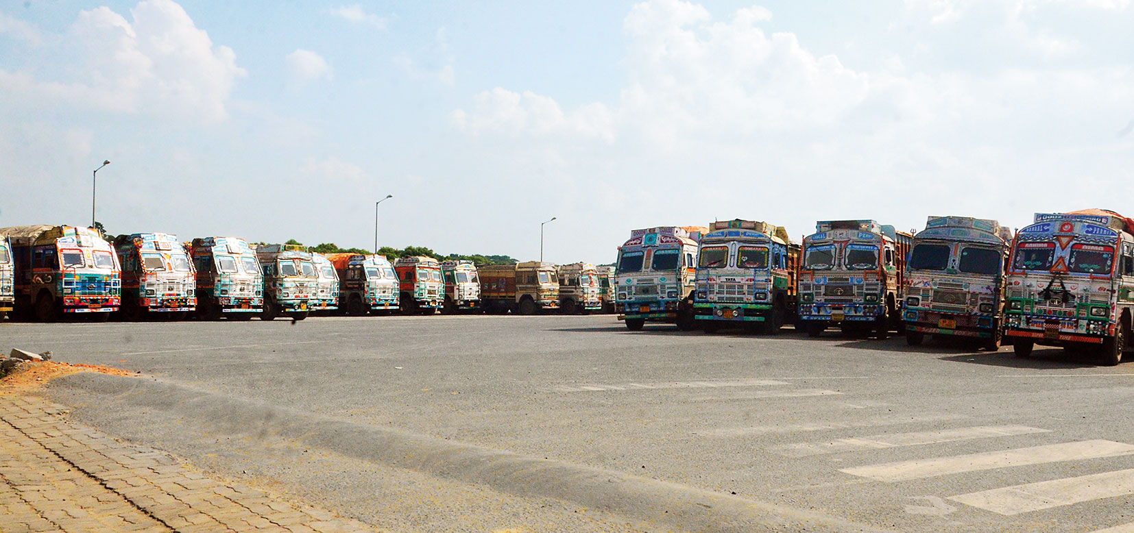 Some of the Indian trucks stranded in Petrapole.
