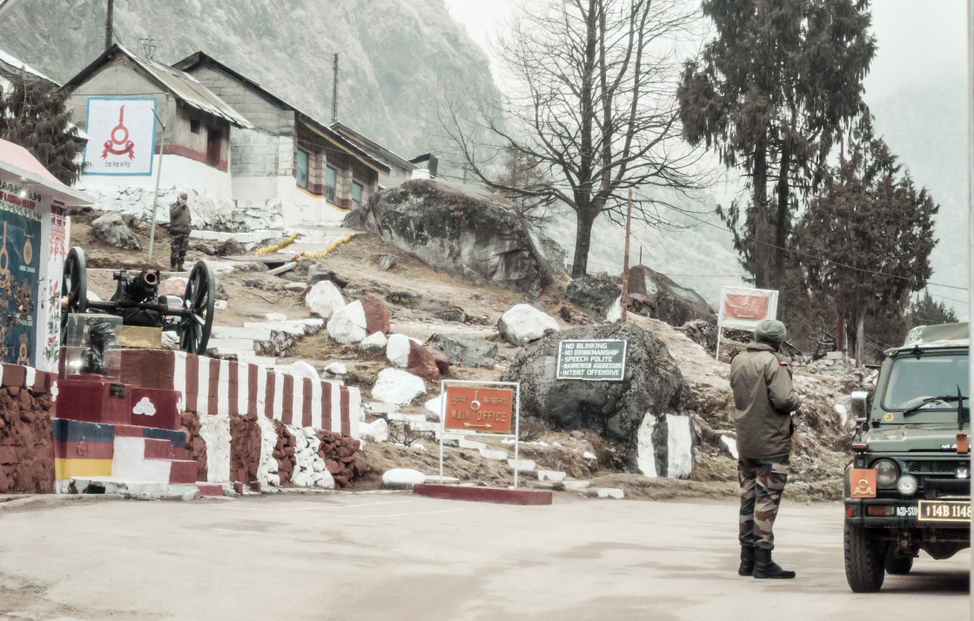 A BSF army major watches the Indian post at the 'McMahon' line.