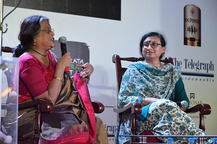 Nabaneeta Dev Sen and daughter Antara Dev Sen in Calcutta circa 2013