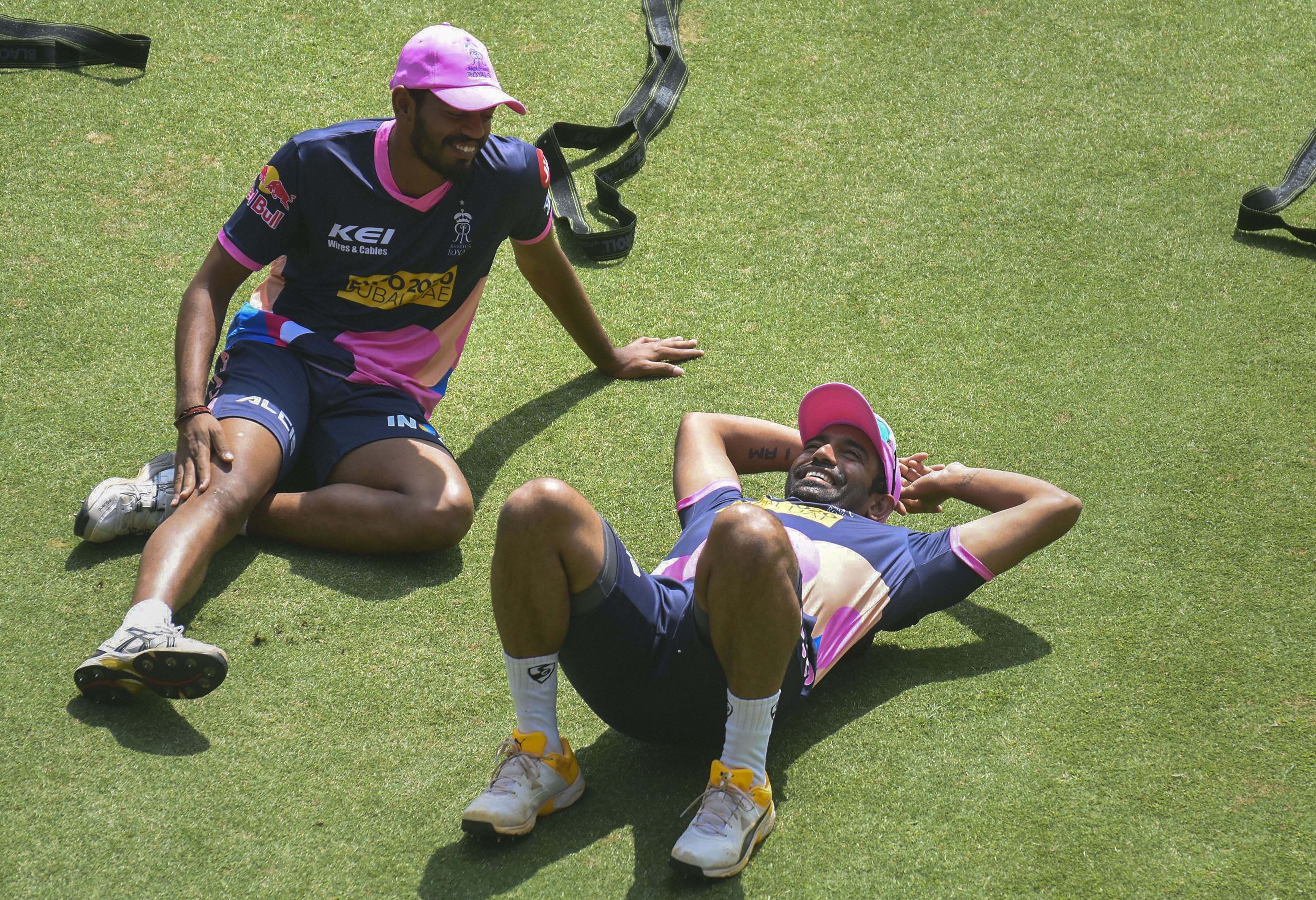Rajasthan Royals player Robin Uthappa (R) during a practice session ahead of the 13th edition of Indian Premier League (IPL), at ACA Stadium, in Guwahati
