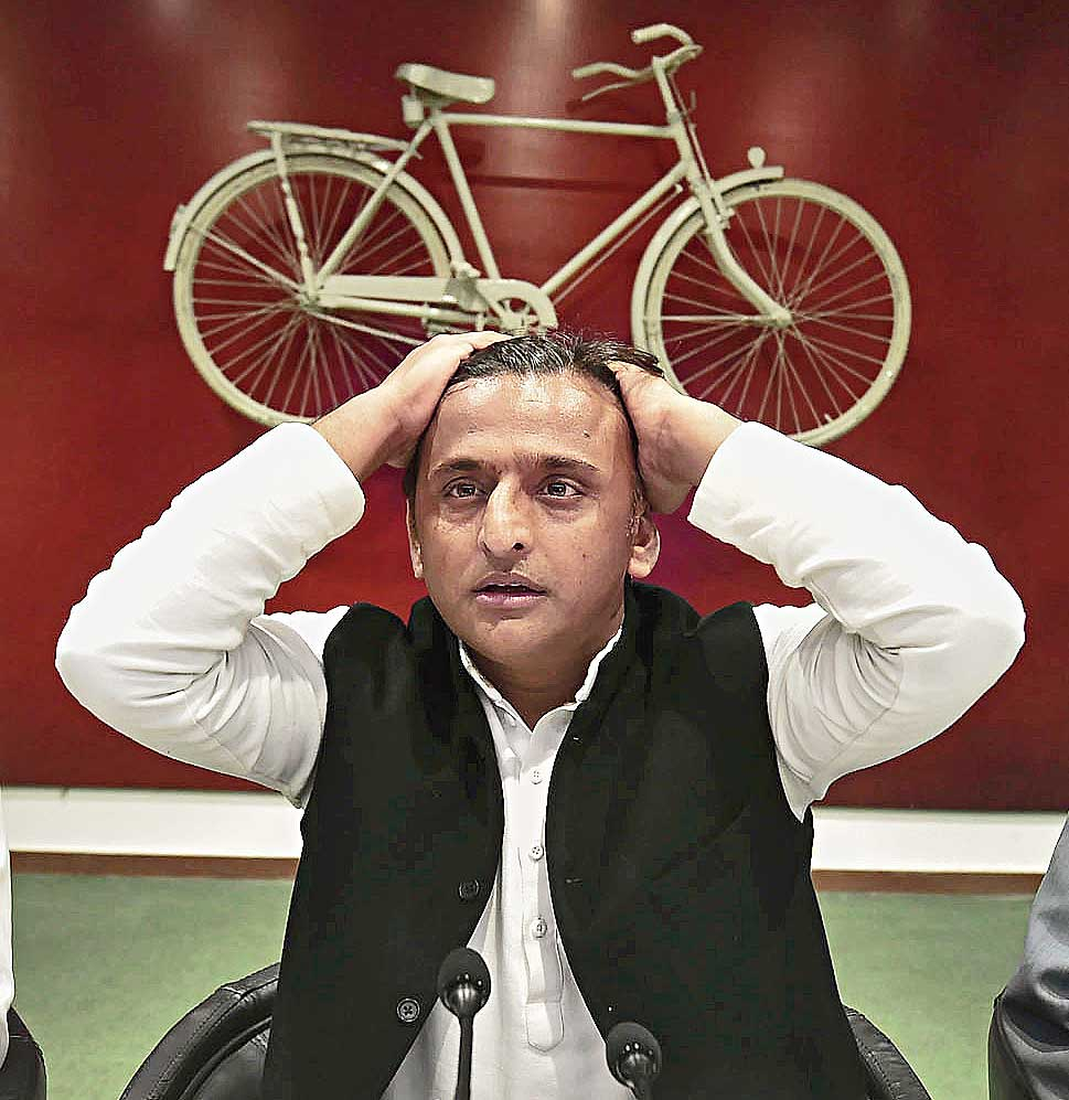 Samajwadi Party chief Akhilesh Yadav at a press conference at the party office in Lucknow on February 8. It is a matter of shame that he was stopped by the authorities at Lucknow airport from taking a flight to Allahabad.