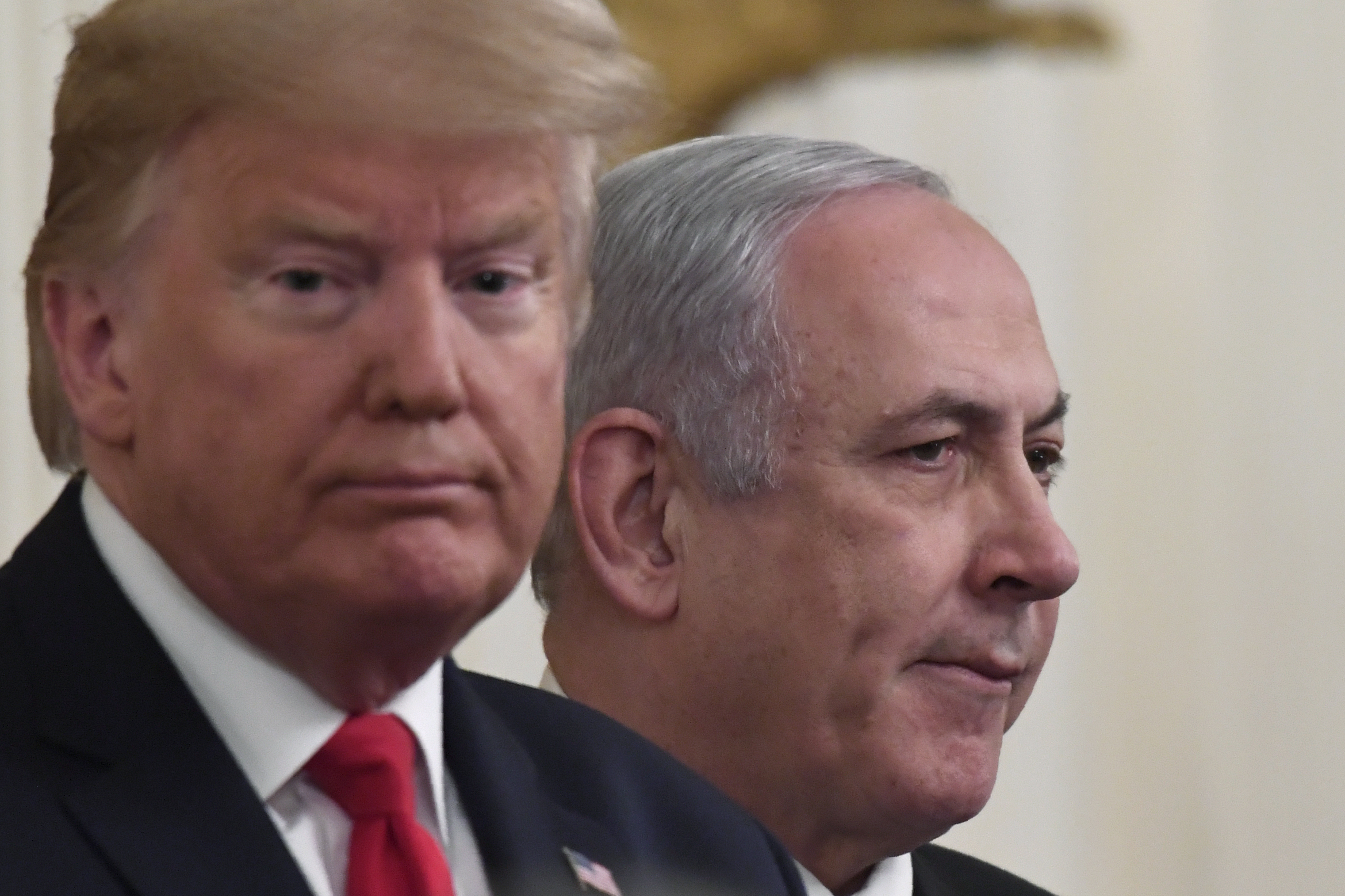 Donald Trump, left, and Benjamin Netanyahu, right, during an event in the East Room of the White House in Washington, on January 28, 2020