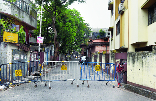 Dover Terrace in the Ballygunge area sealed by police guardrails.