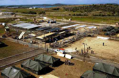 A 2002 file picture of an aerial view of  Camp X-ray, a detention facility at Guantanamo Bay