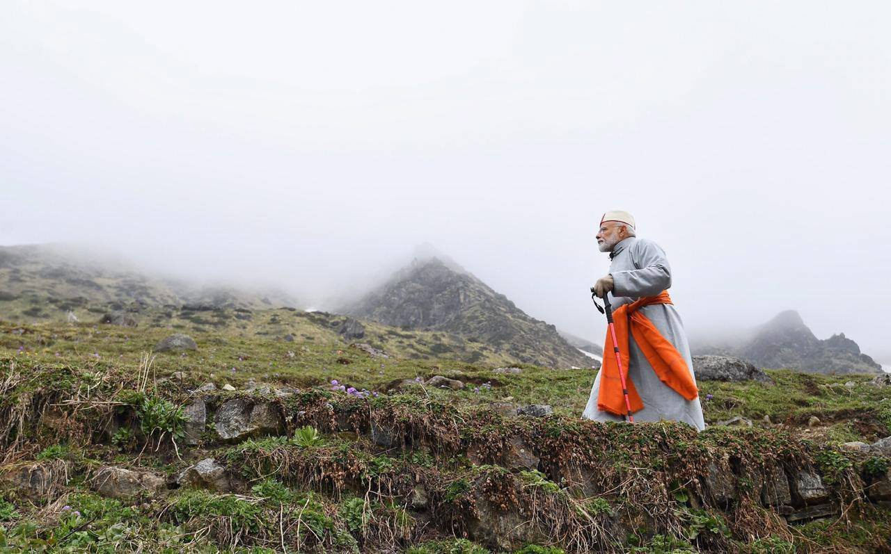 Prime Minister Narendra Modi after paying obeisance at the Kedarnath temple in Rudraprayag on Saturday.
