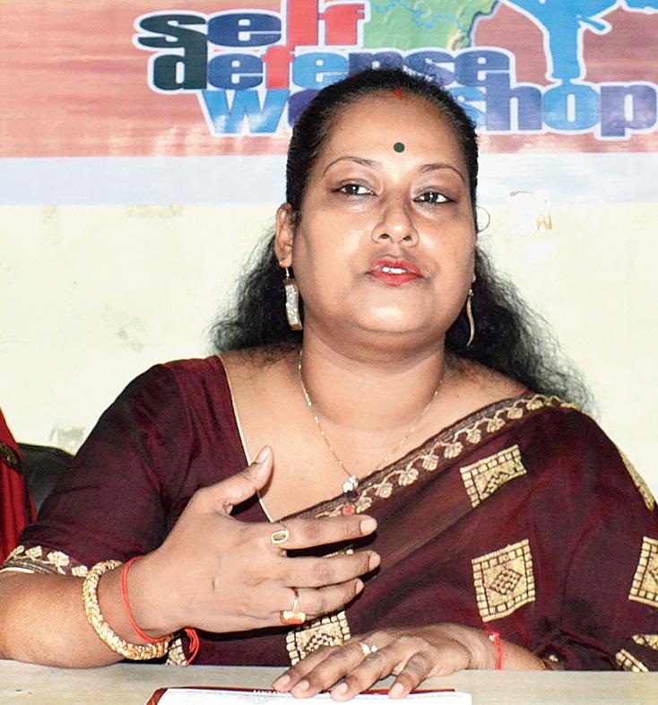 Junmoni Devi Khound at the news meet on Sunday.