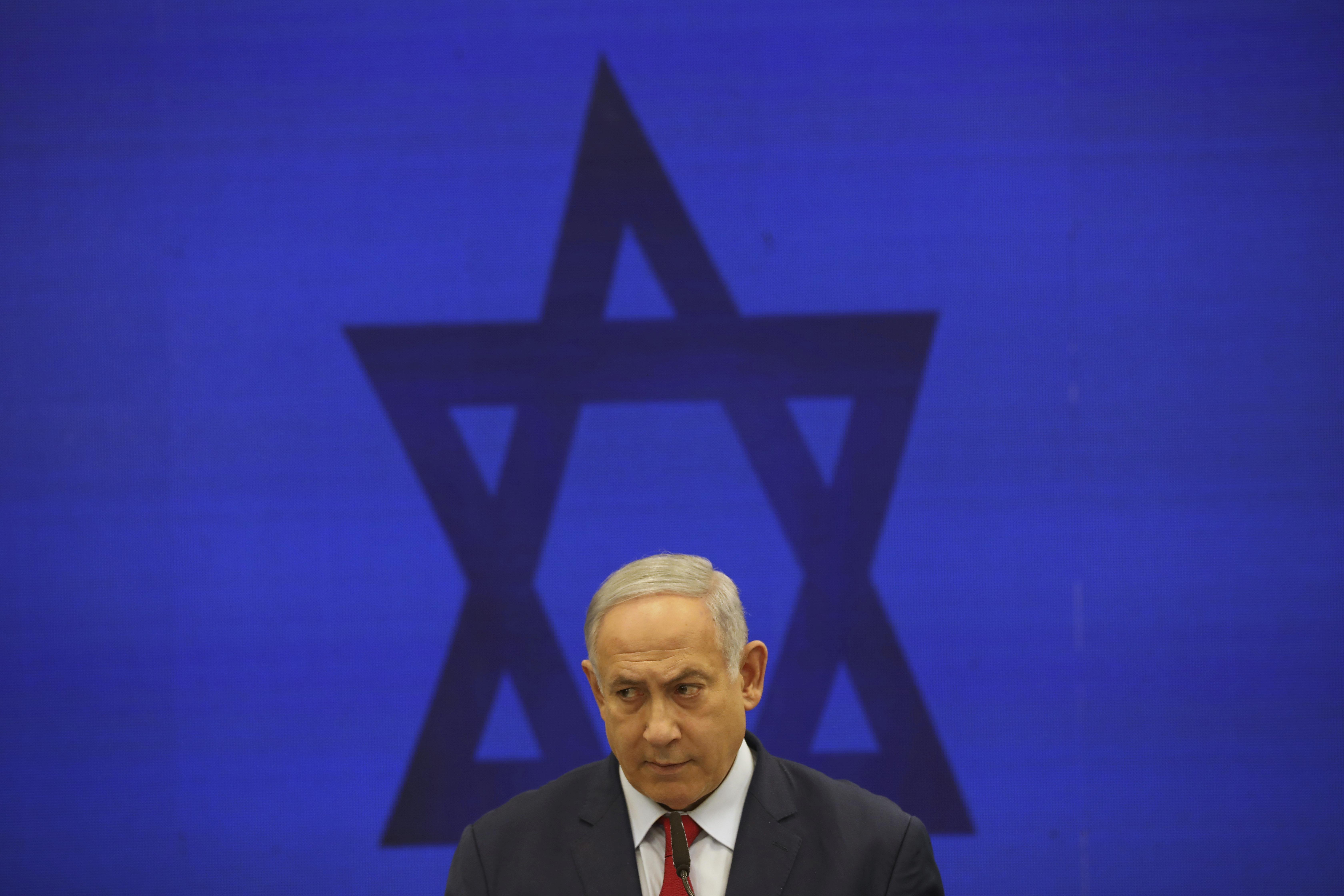 Israeli Prime Minister Benjamin Netanyahu at a press conference in Tel Aviv, Israel