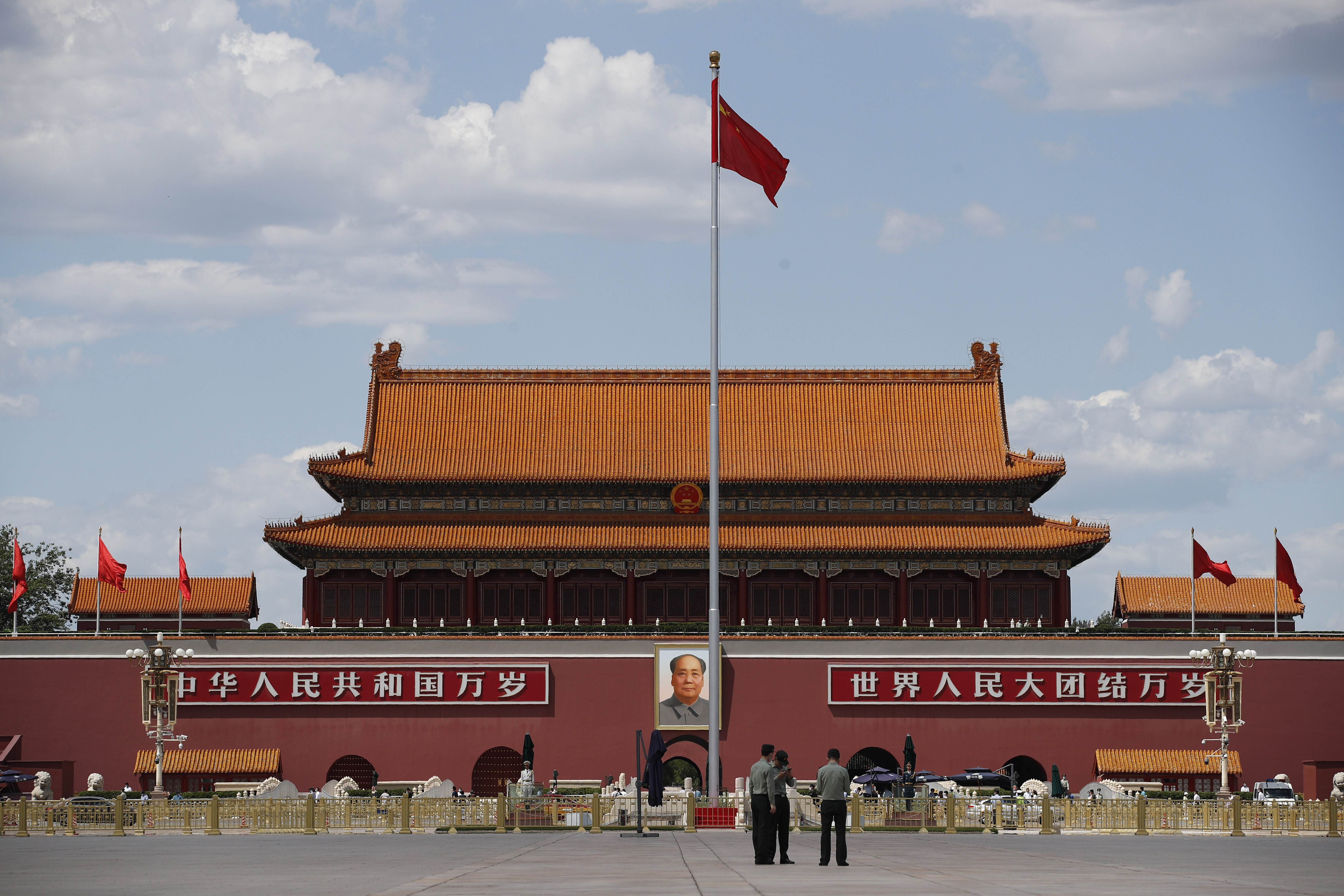 The Chinese national flag is flown on Tiananmen Square