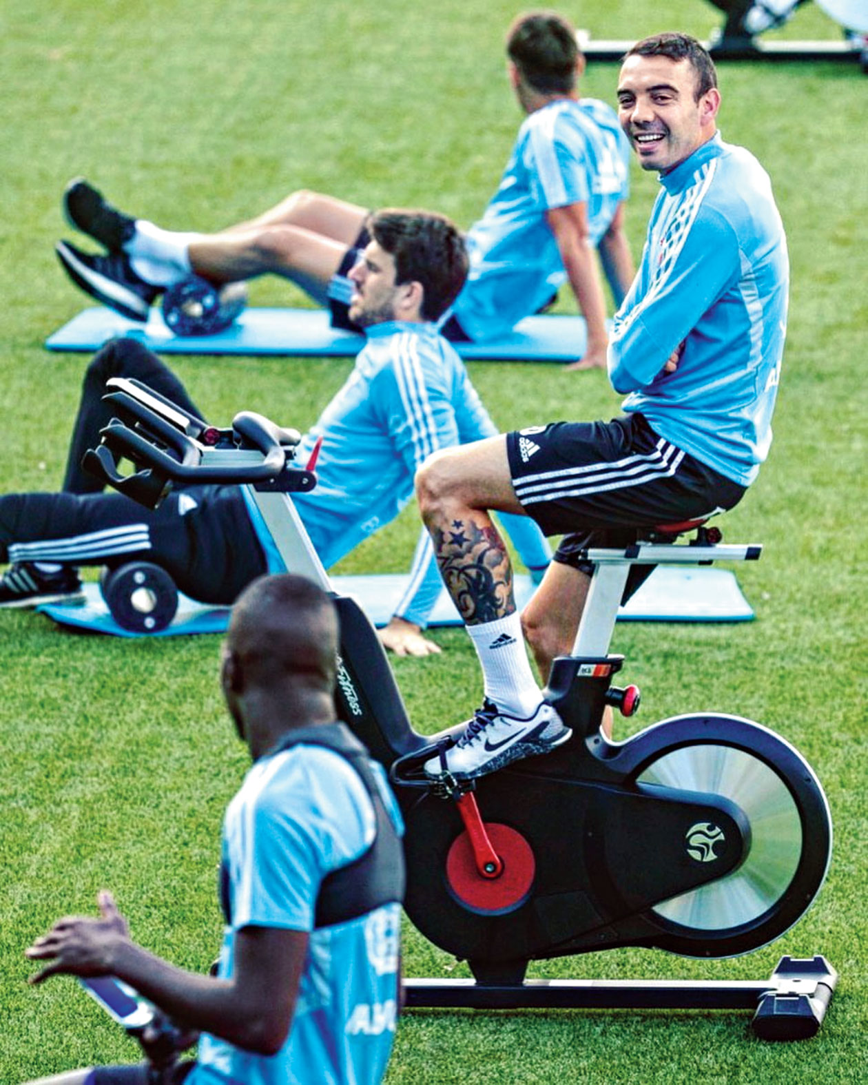 Iago Aspas (facing the camera) of La Liga club Celta Vigo during a training session with teammates on Thursday.