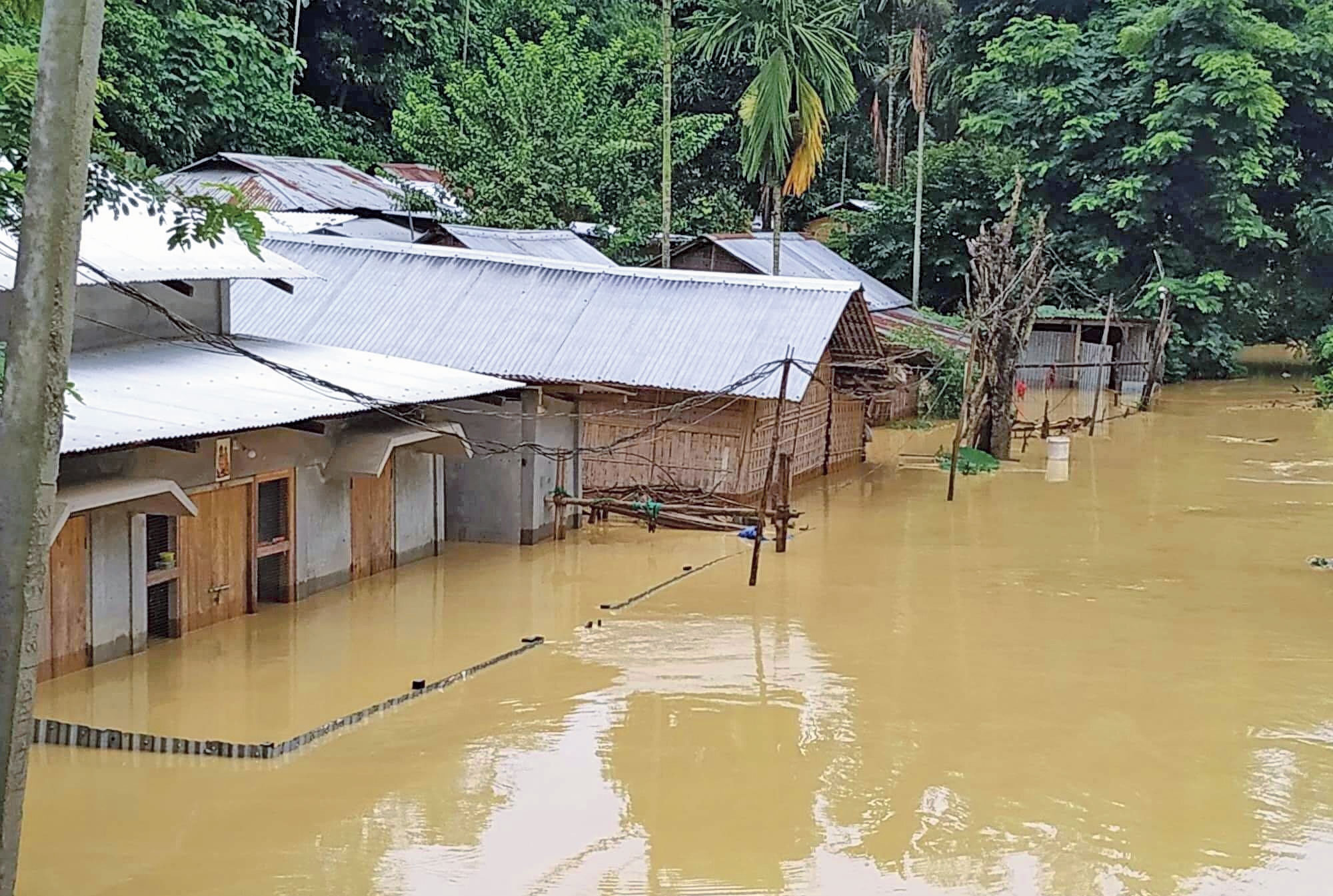 An inundated area in Lumding in Hojai district on Saturday.