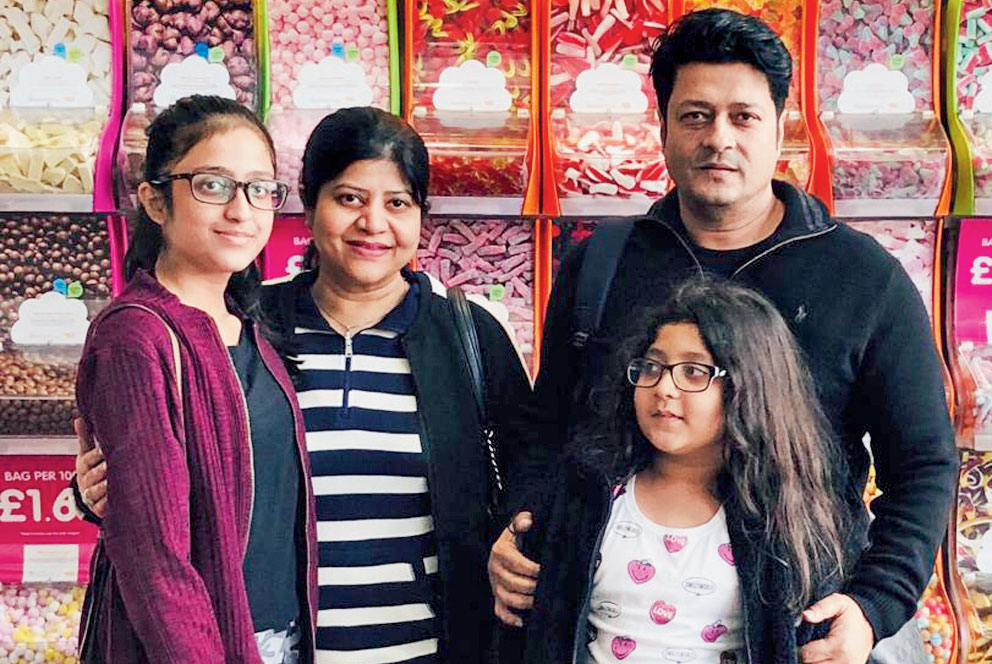 File picture of Ferdous with his family in a Calcutta mall