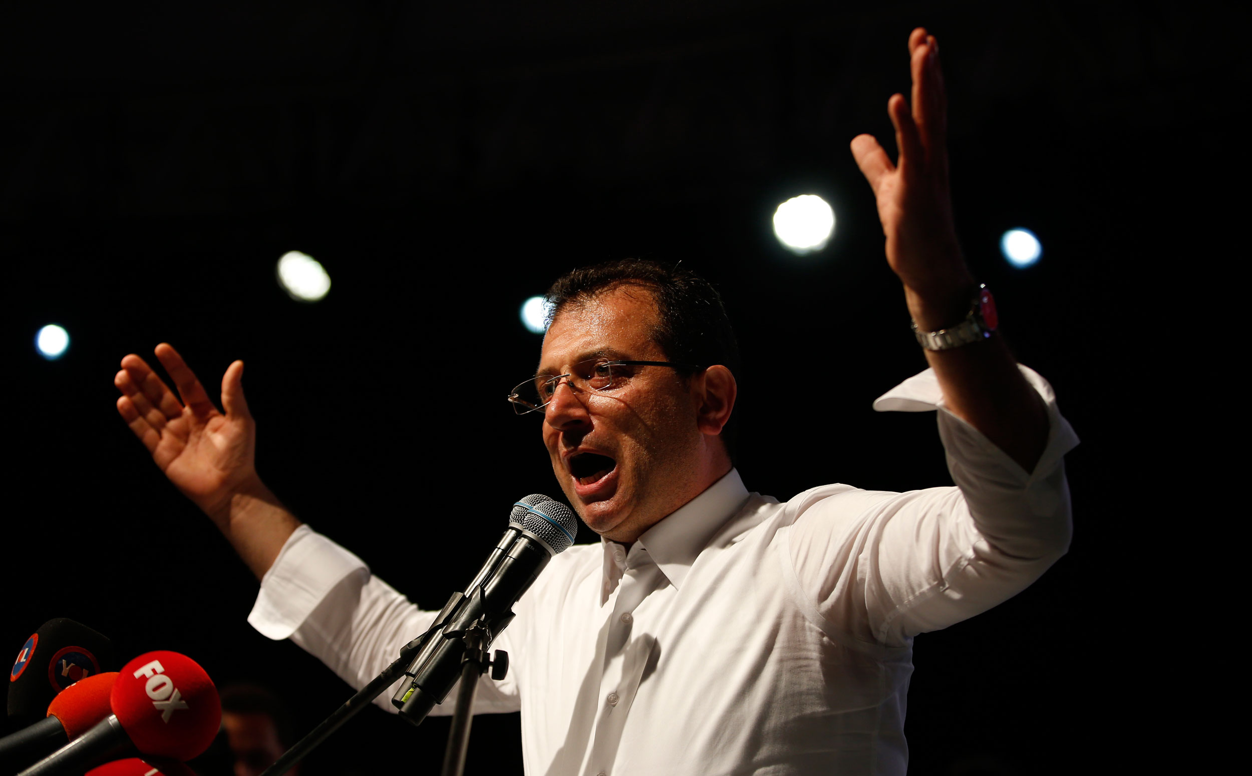 Ekrem Imamoglu during a rally in Istanbul on May 6, 2019.