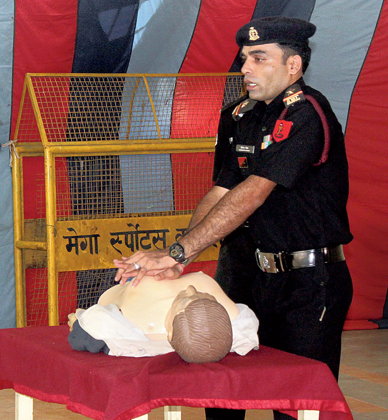 A training session on life-saving tactics underway at the camp.
