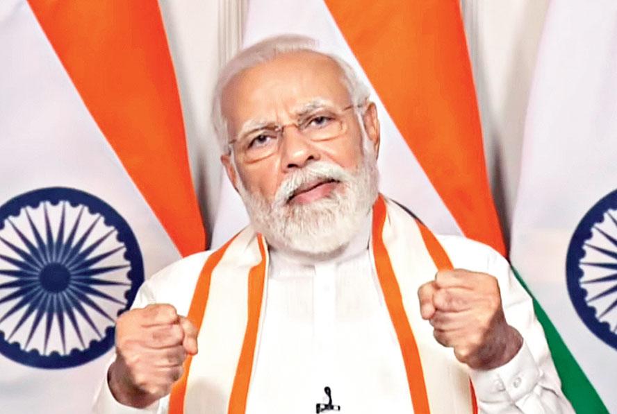 Modi addresses the CII Annual Session-2020 via video in New Delhi on Tuesday.