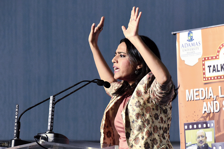 Actress Swara Bhasker speaks at the 44th International Calcutta Book Fair.