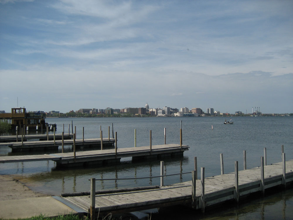 Lake Monona in Madison, Wisconsin, US, with the pier and the city skyline. The Capitol can be seen on the horizon