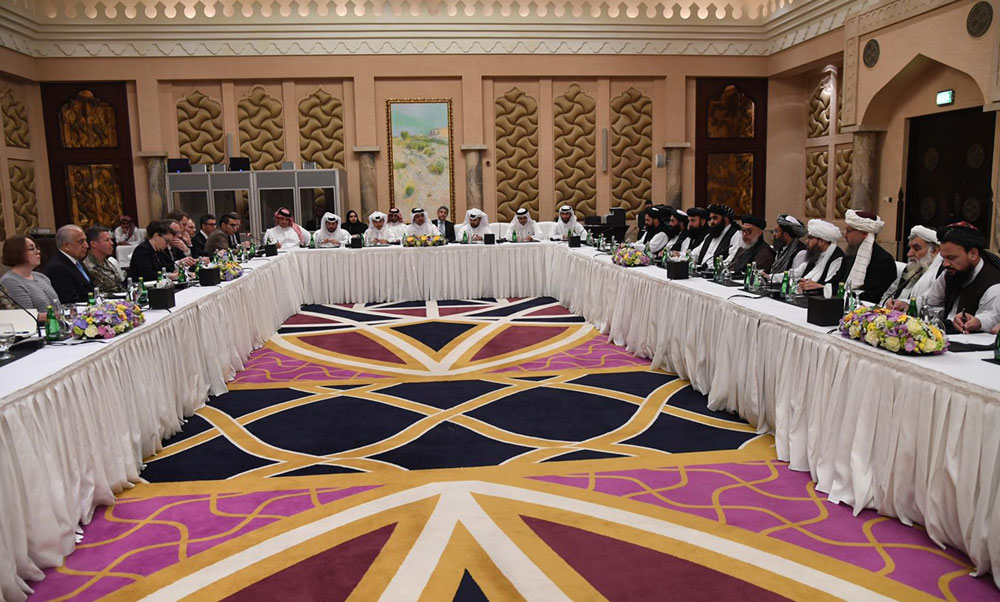 Special Envoy of Qatar for Counterterrorism and Mediation in conflicts resolution, Dr. Mutlaq Bin Majid Al-Qahtanithe, mediates talks between the US Special Representative for Afghanistan and the Deputy Commander of the Taliban Movement for Political Affairs in Doha, Qatar.