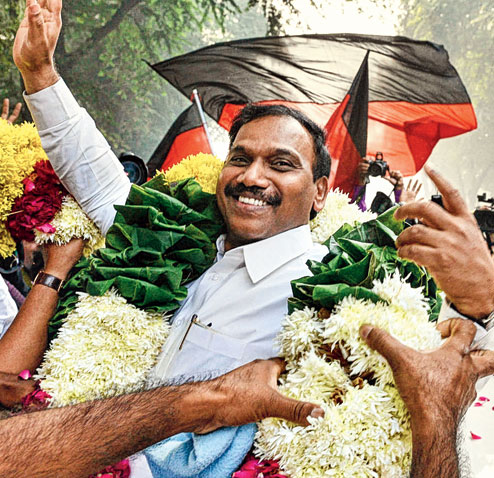 A. Raja on the day he was acquitted in the @G telecom case.