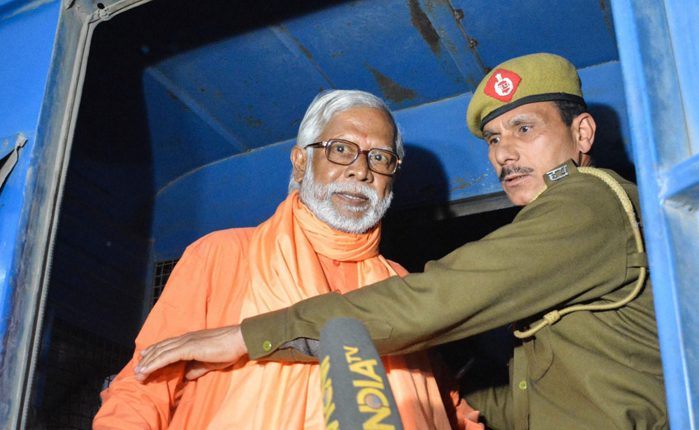 Swami Aseemanand after a special court acquitted him along with three others in the Samjhauta train blast case