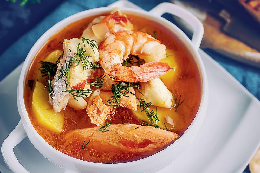 A bowl of bouillabaisse (pronounced 'boo-ya-bes')