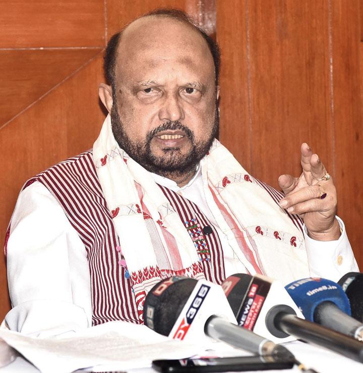 Prafulla Kumar Mahanta speaks at the news meet on Sunday.