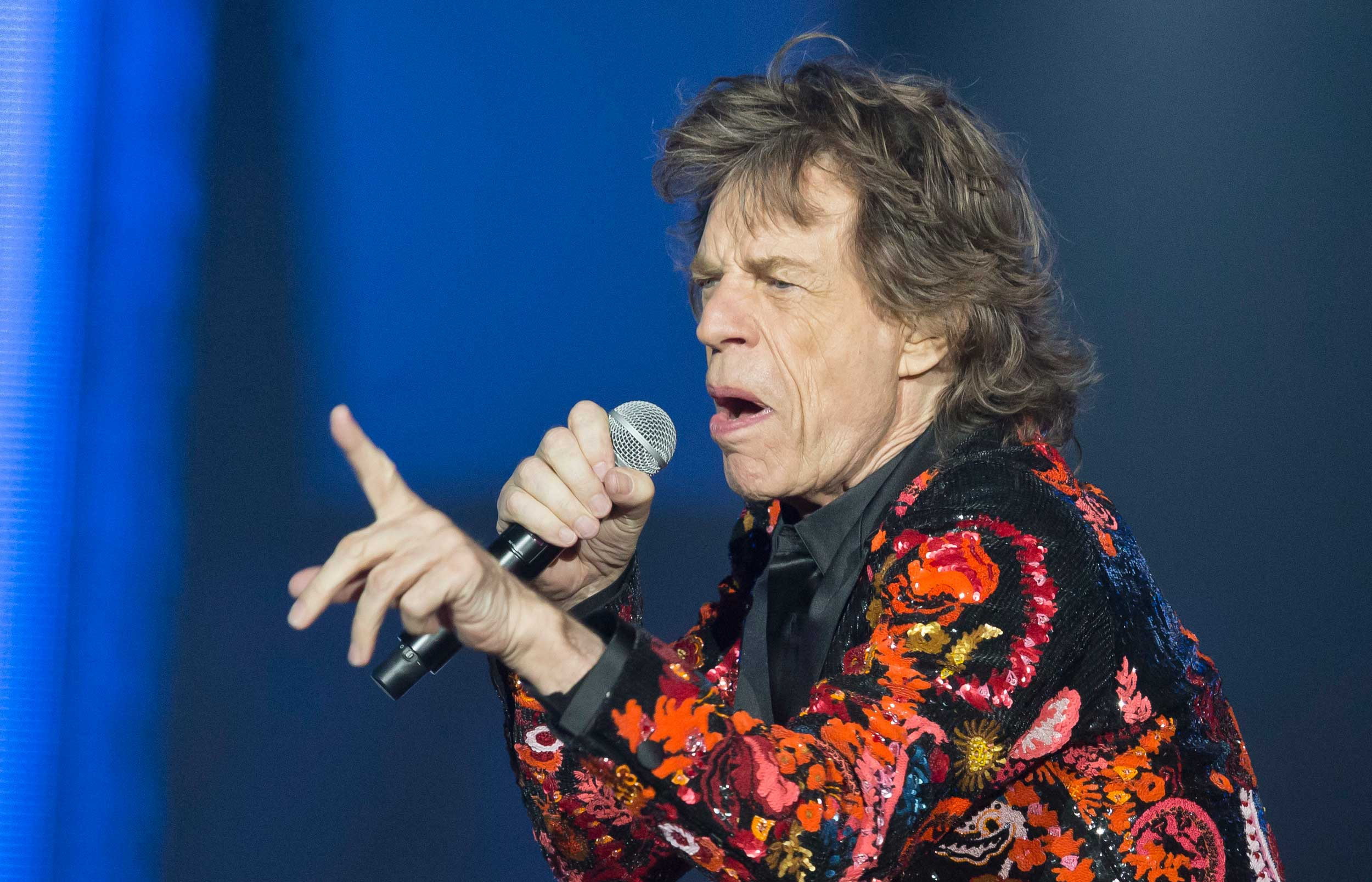 Mick Jagger performs during a concert at U Arena in Nanterre, outside Paris, on October 22, 2017.