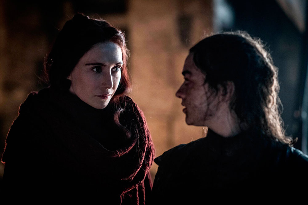 Maisie Williams, right, and Carice van Houten in a scene from Game of Thrones that aired on Sunday