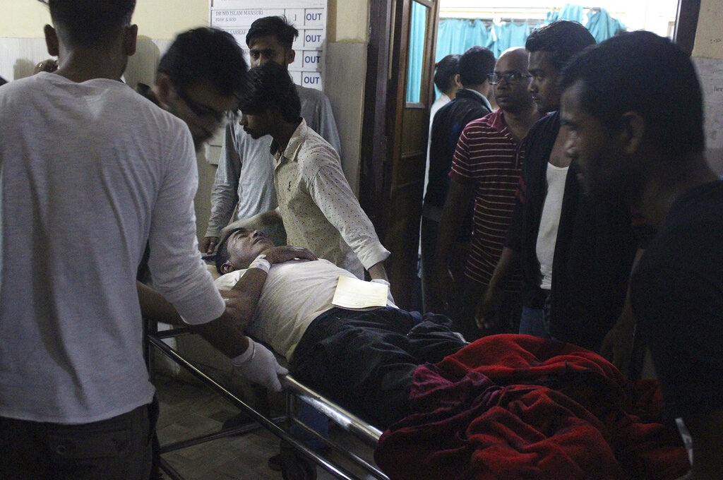 A man injured in the rainstorm being brought to a government hospital in Birgunj, 136 km from Kathmandu, on Sunday.