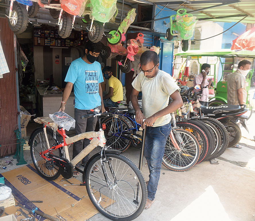 A cycle being readied at a shop in Baguiati for a customer