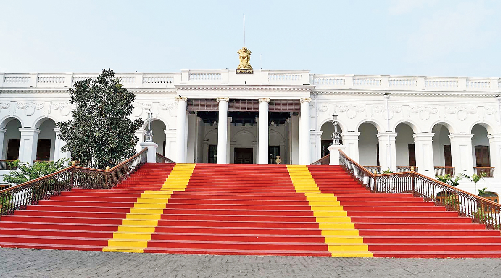 The staircase on the southern side of National Library's Belvedere that has been covered with a material painted red and yellow.