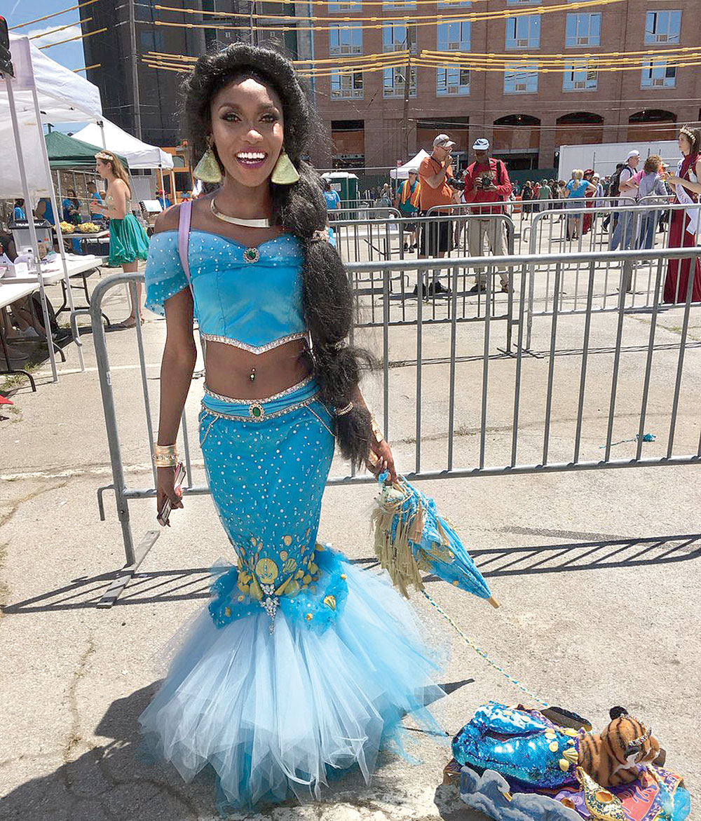A person dressed as a mermaid in Coney Island Mermaid Parade