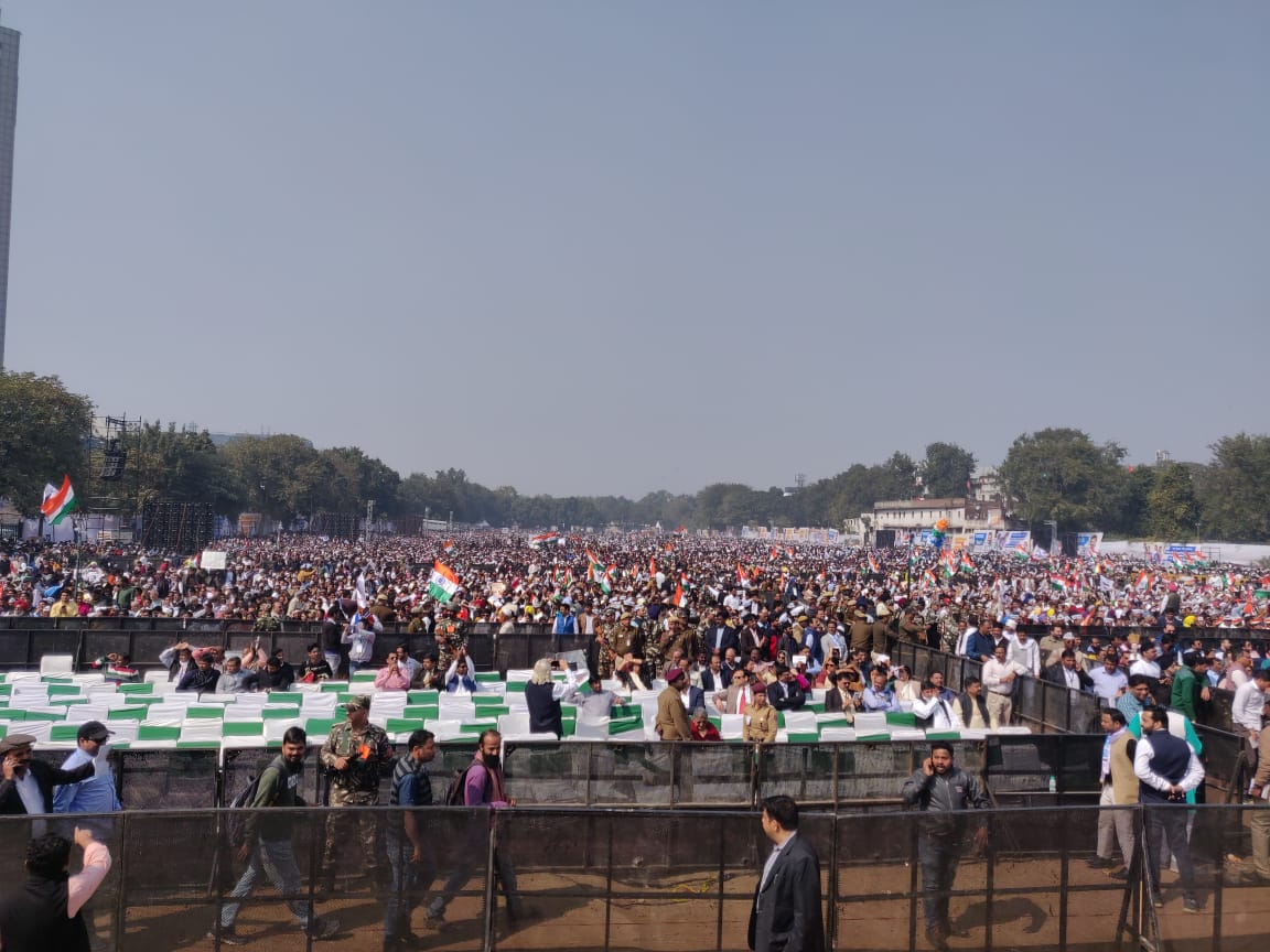 Crowd attends AAP government's swearing-in ceremony at Ramlila Maidan in New Delhi, on Sunday, February 16, 2020.