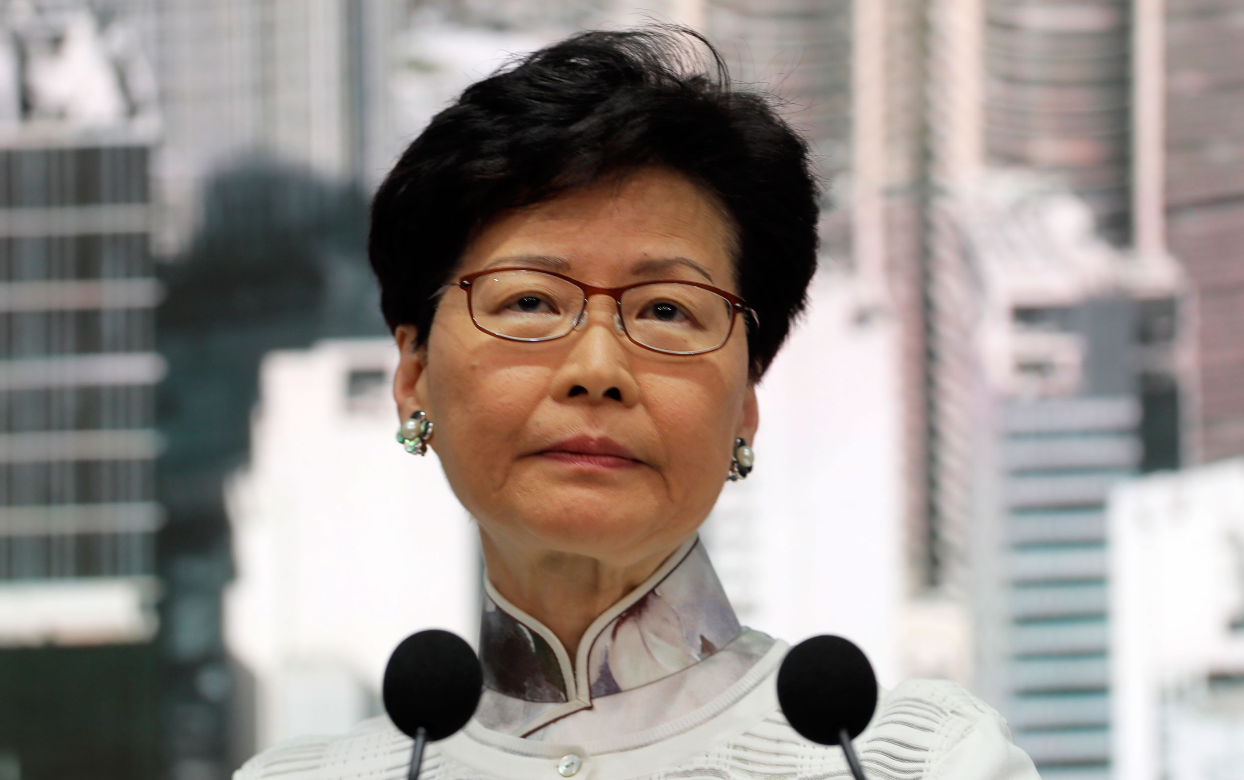 Chief executive Carrie Lam at the news conference in Hong Kong on Saturday.