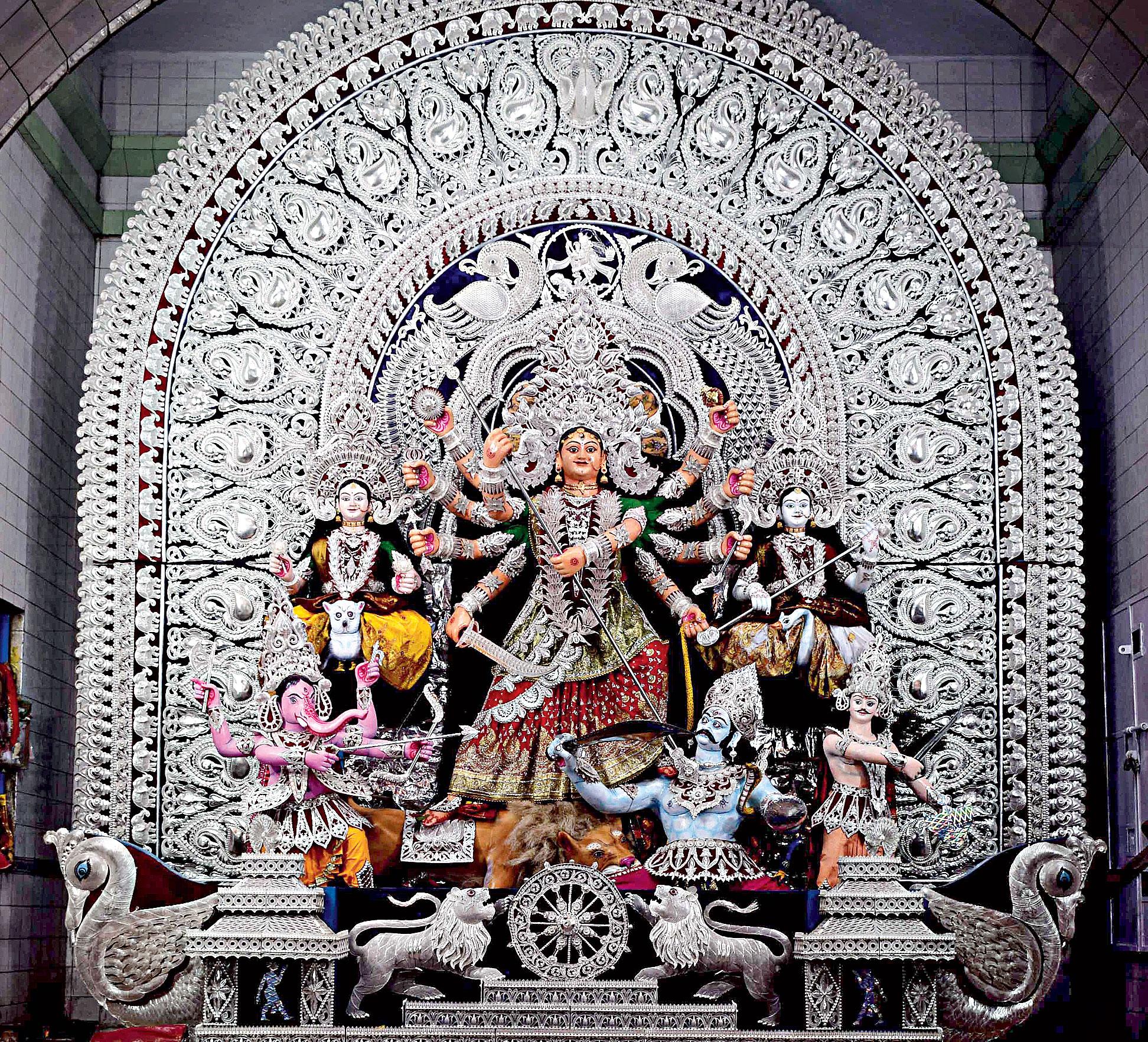 The Durga idol at Chandni Chowk in Cuttack.