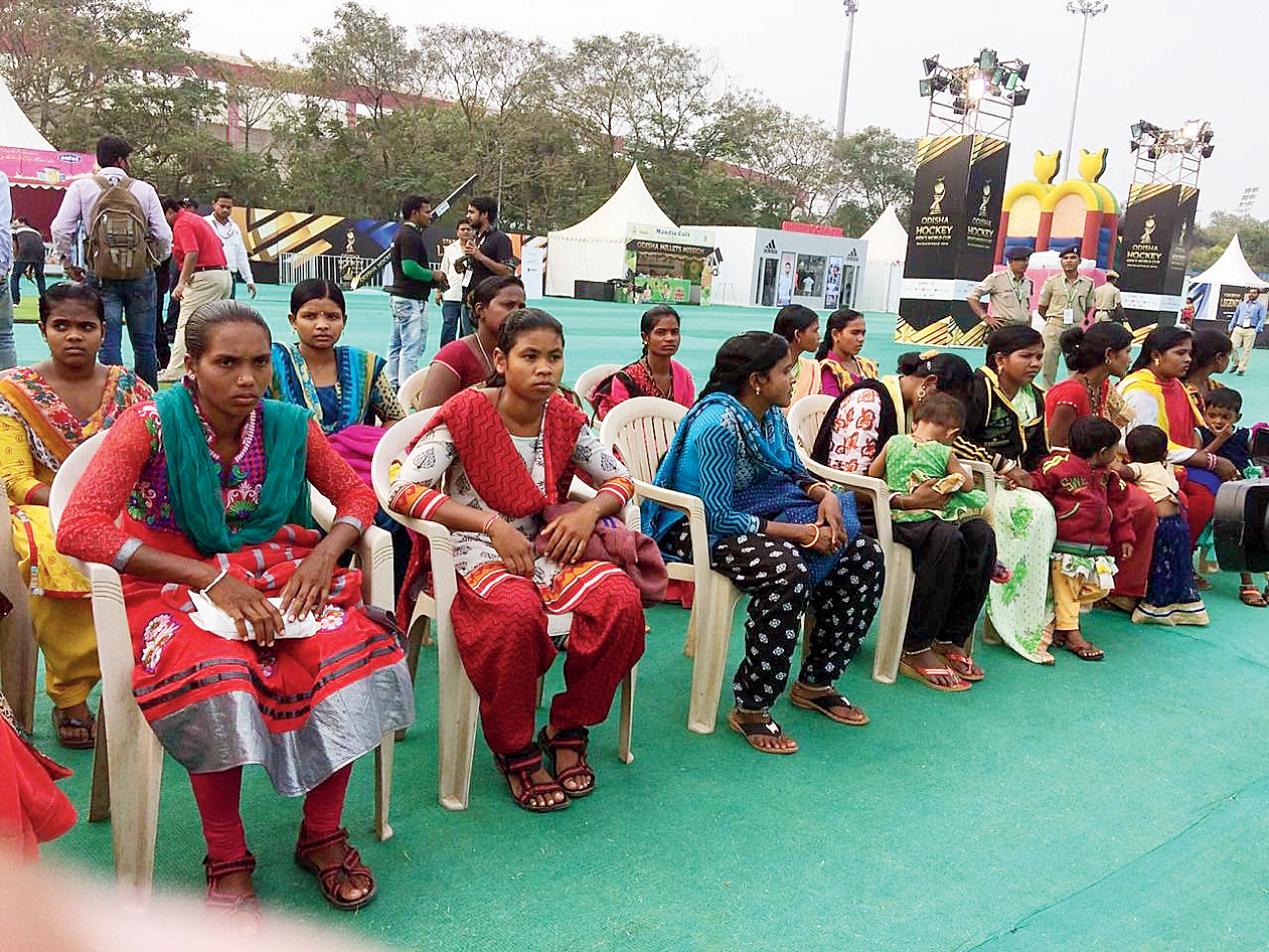 Ringside view: The former Maoists and their family members at the Fan Village in Bhubaneswar on Thursday.