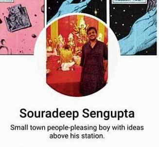 A screenshot of Souradeep Sengupta's Facebook page