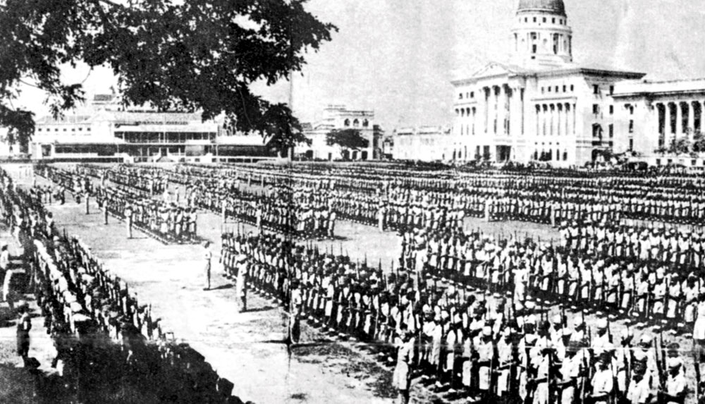 Past forward: The Indian National Army on the grounds of the old Supreme Court building in Singapore