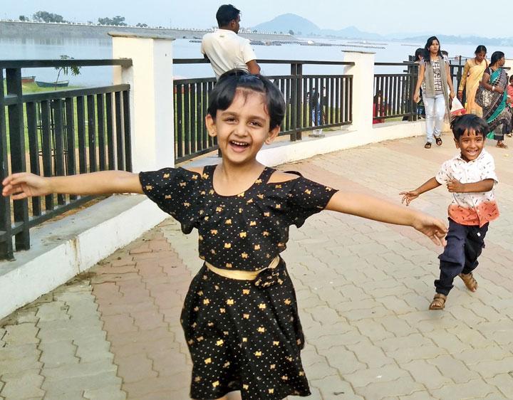 Joyrun: Kids at Patratu Lake in Ramgarh near Ranchi on Tuesday