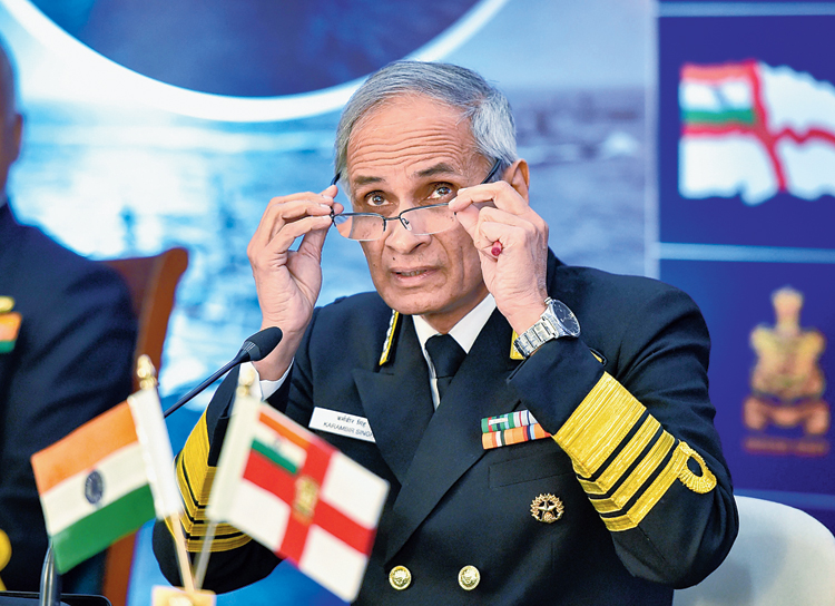 Admiral Karambir Singh at a news conference in New Delhi on Tuesday