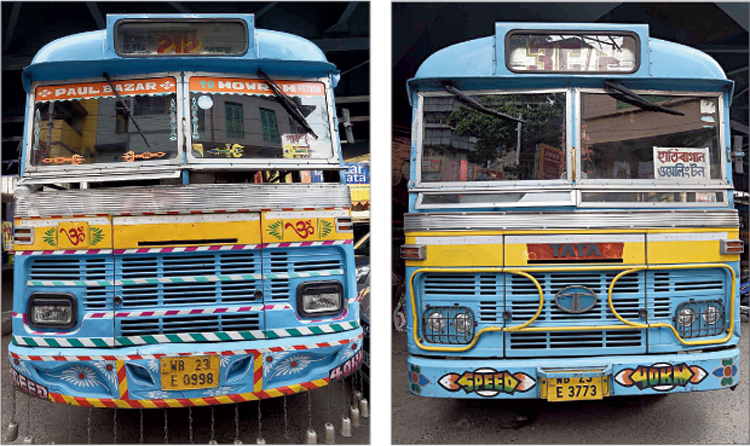 The two buses that were involved in Friday's accident at the Gariahat crossing. Samir Pal, who was injured, fell off the bus on the left.
