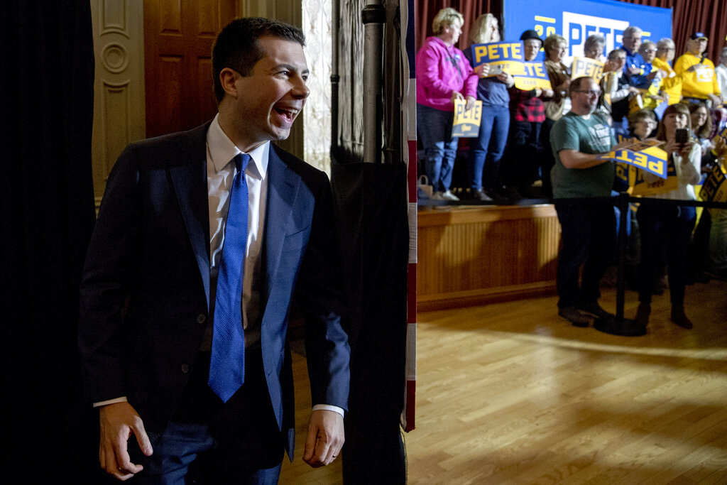 Democratic presidential candidate former South Bend, Ind., Mayor Pete Buttigieg arrives at a campaign stop at Hotel Winneshiek, on Thursday