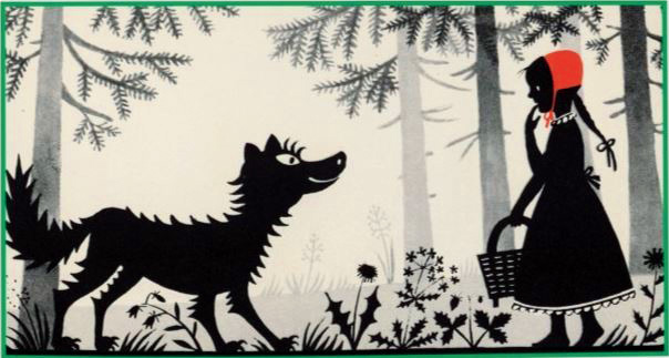 An illustration of Little Red Riding Hood from the Taschen collection of Grimms' Fairy Tales