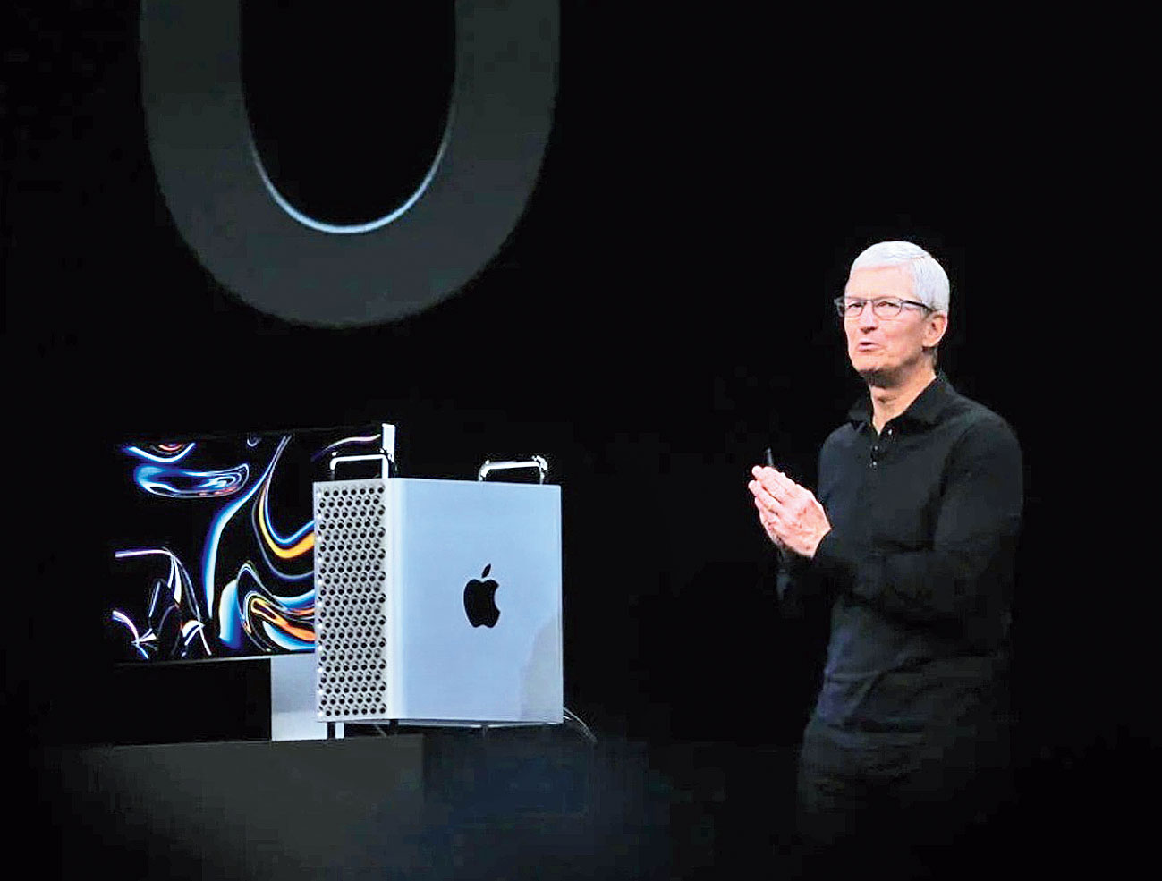 Tim Cook announcing the new Mac Pro