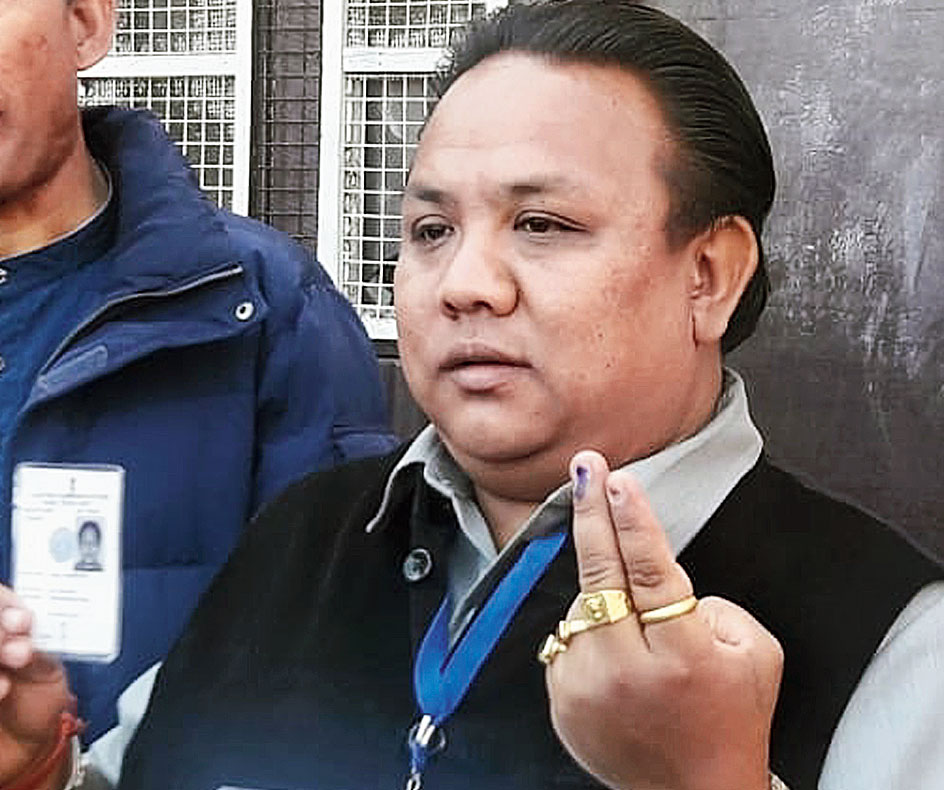 Zimba after casting his vote in Darjeeling on Sunday