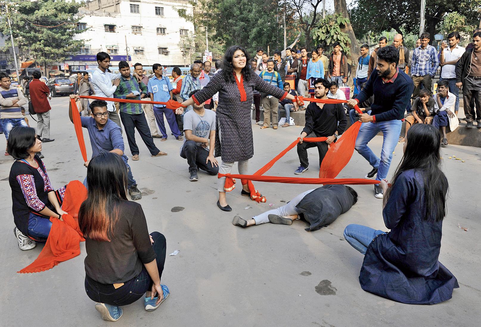 A street play on menstrual hygiene at Esplanade on Thursday.
