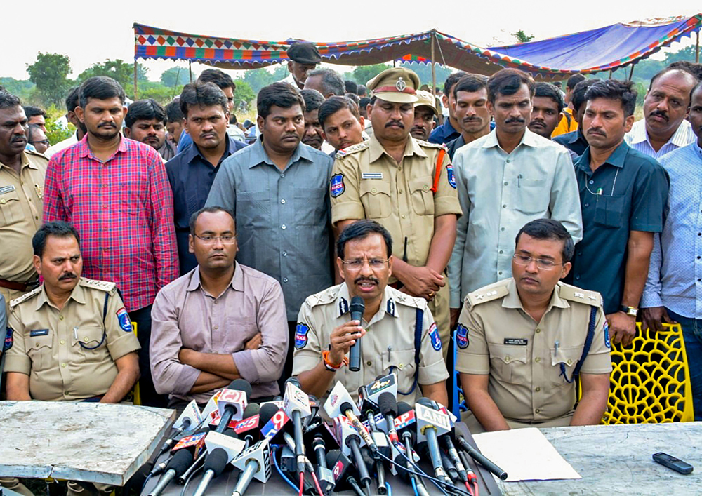 Cyberabad Police Commissioner VC Sajjanar, who carried out the encounter of the four accused in the Hyderabad veterinarian rape and murder case, addresses the media, in Hyderabad, Friday, December 6, 2019.