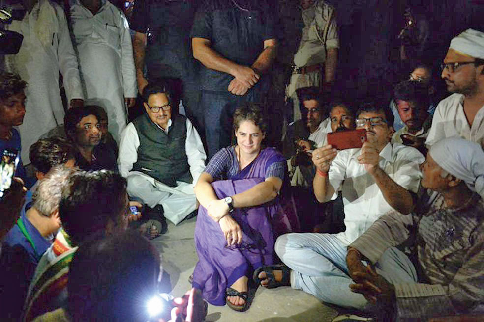 Priyanka on a dharna at Chunar Fort guesthouse in Mirzapur on Friday.